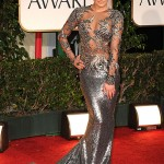 Lea Michele in sivler Marchesa gown