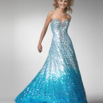Strapless Blue Ball Gown