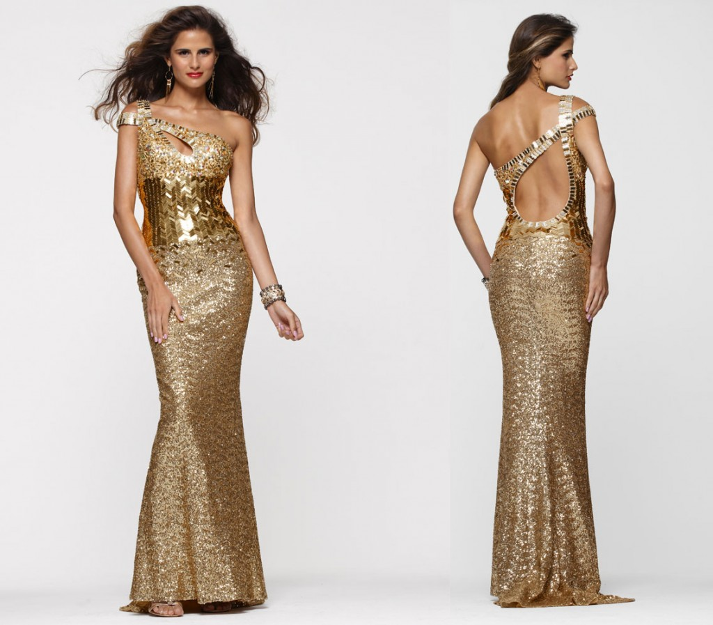 Gold red carpet dress