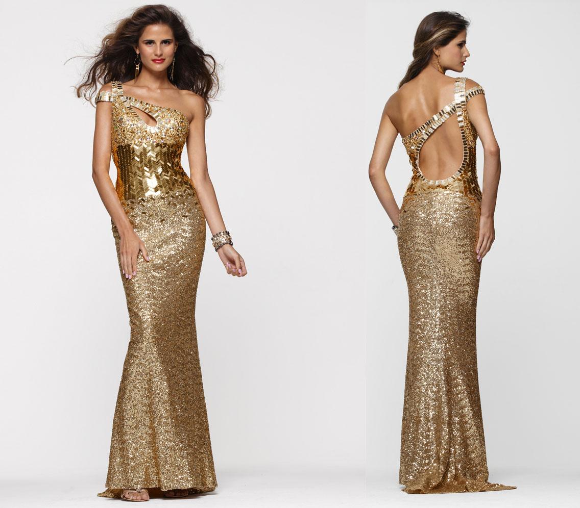 Gold red carpet dress
